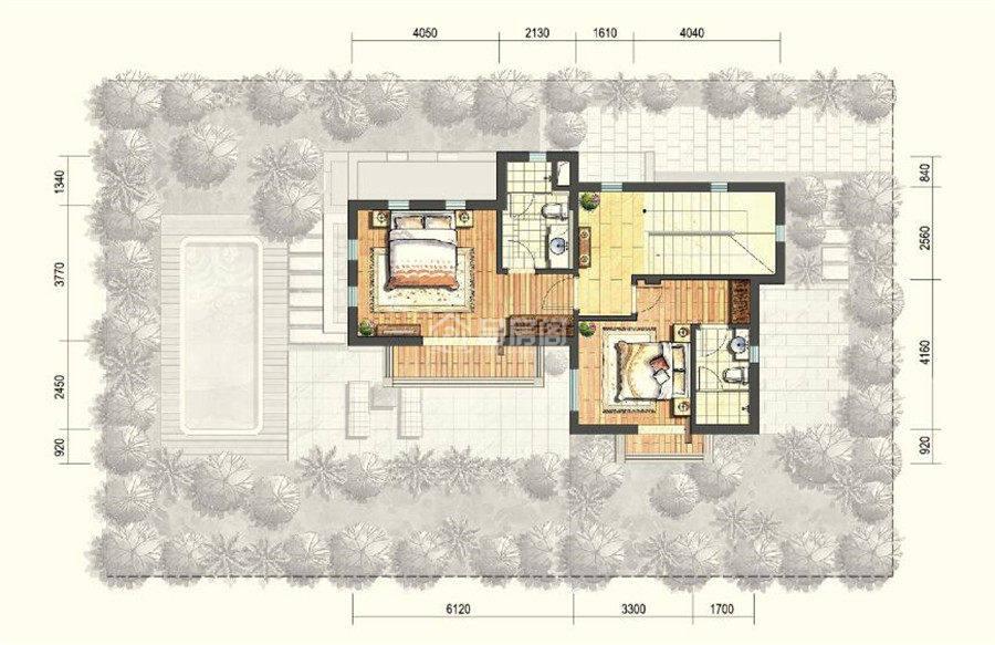 二期E户型二层 3室2厅4卫