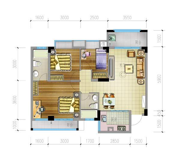 兴隆家和园C户型3房2厅2卫