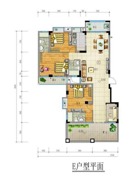 兴隆家和园E户型4房2厅3卫
