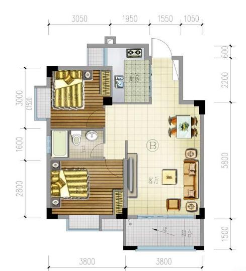 兴隆家和园B户型2房2厅1卫