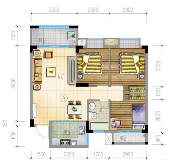 兴隆家和园A户型3房2厅1卫