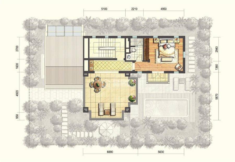 二期B户型二层 4室2厅4卫