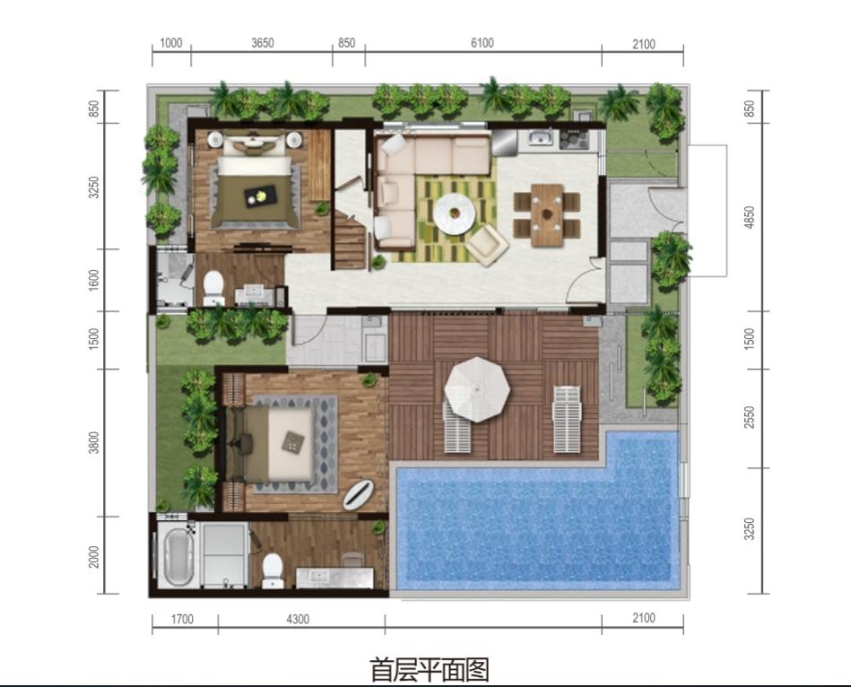 保利海棠湾项目二期克拉墅A户型首层平面图三室两厅三卫一泳池一庭院