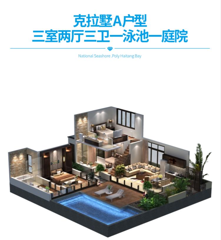 保利海棠湾项目二期克拉墅A户型三室两厅三卫一泳池一庭院