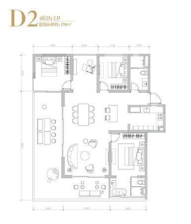 D2户型 4室2厅2卫  (建筑面积)