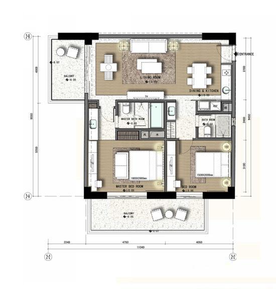 力合国际中心A4户型2室2厅2卫1厨