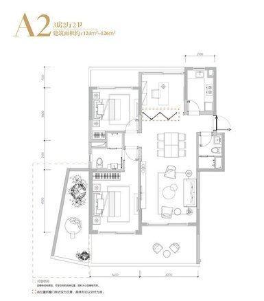 A2户型 3室2厅2卫1厨