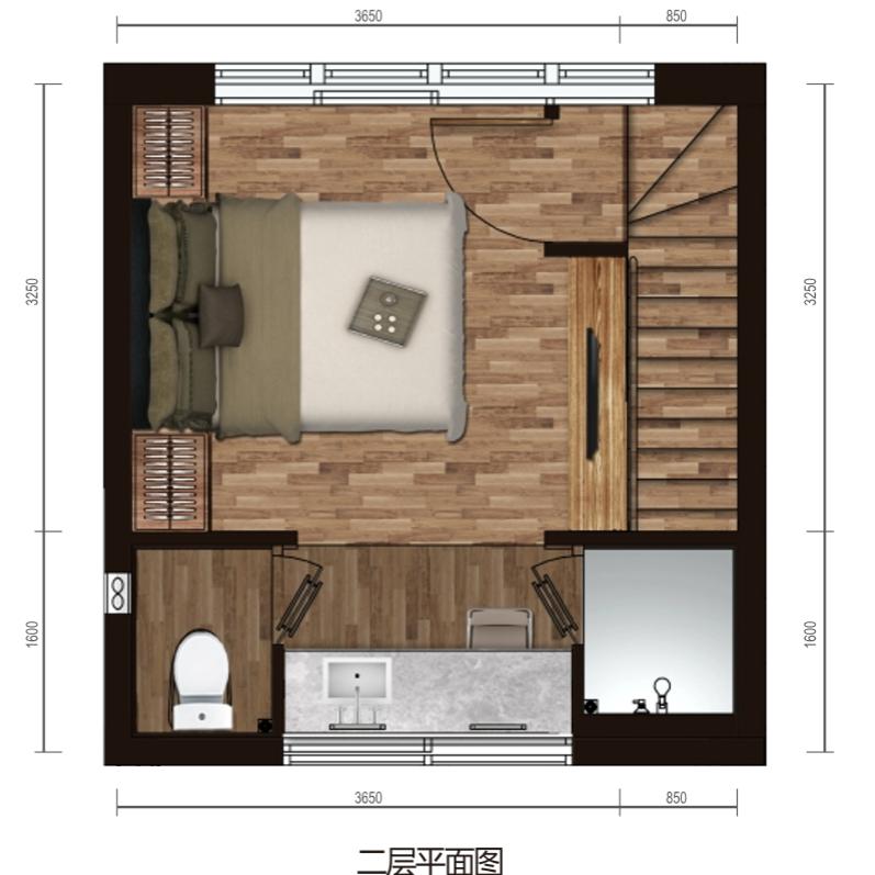 保利海棠湾项目二期克拉墅A户型二层平面图三室两厅三卫一泳池一庭院