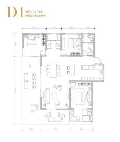 D1户型 3室2厅3卫1厨