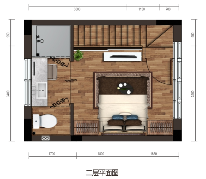 保利海棠湾项目二期克拉墅B户型二层平面图四室两厅三卫一泳池一庭院