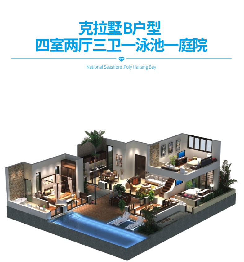 保利海棠湾项目二期克拉墅B户型四室两厅三卫一泳池一庭院