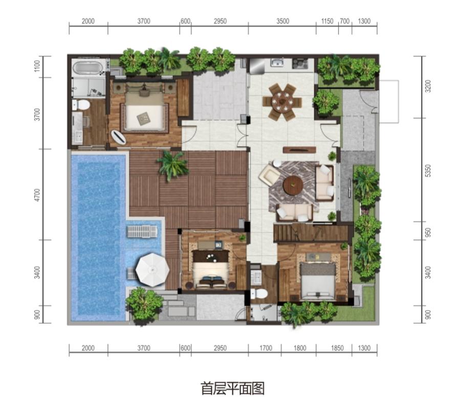 保利海棠湾项目二期克拉墅B户型首层平面图四室两厅三卫一泳池一庭院