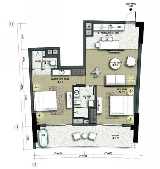 力合国际中心C3户型2室1厅12卫1厨